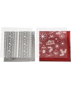Deco Foil e fogli trasferibili, Natale magico, 15x15 cm, rosso, argento, 2x2 fgl./ 1 conf.