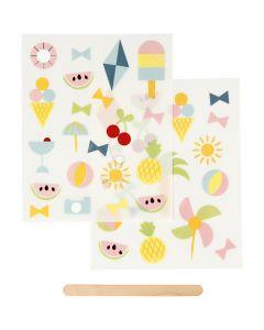 Sticker da strofinare, vacanze, 12,2x15,3 cm, 1 conf.