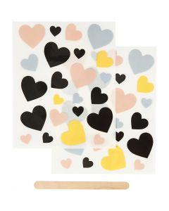 Sticker da strofinare, cuori, 12,2x15,3 cm, 1 conf.