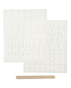 Sticker da strofinare, lettere e numeri, 12,2x15,3 cm, bianco, 1 conf.