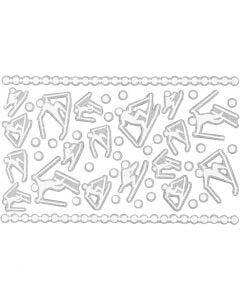 Stickers gommati, sciatori, 9x14 cm, misura 5-30 mm, bianco, 1 fgl.