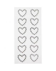Cuori di diamanti sintetici, misura 23x21 mm, 12 pz/ 1 conf.