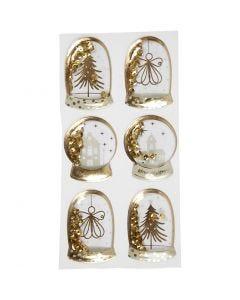 Shaker stickers , angelo, albero e casa, misura 49x32+45x36 mm, oro, 6 pz/ 1 conf.