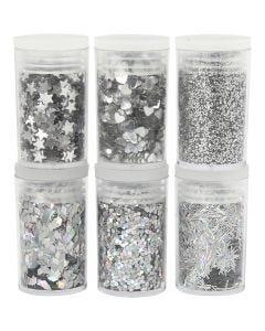 Glitter e strass, argento, 6x5 g/ 1 conf.
