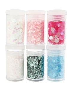 Glitter e strass, colori pastello, 6x5 g/ 1 conf.