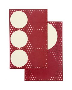 Adesivi, diam: 4+6,5 cm, 9x14 cm, 4 fgl. asst./ 1 conf.