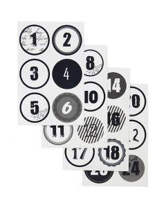 Numeri calendario dell'Avvento, diam: 4 cm, 9x14 cm, 4 fgl. asst./ 1 conf.
