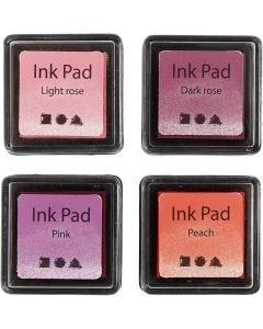 Tampone inchiostrato, H: 2 cm, misura 3,5x3,5 cm, pesca, rosa, rosato chiaro, rosato scuro, 4 pz/ 1 conf.