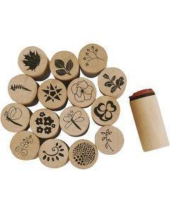 Timbri decorativi, fiore e foglia, H: 26 mm, diam: 20 mm, 15 pz/ 1 conf.
