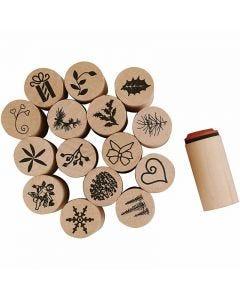Timbri decorativi, Natale, H: 26 mm, diam: 20 mm, 15 pz/ 1 conf.