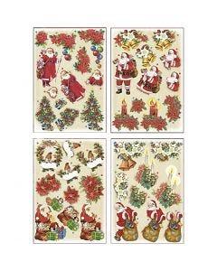 Motivi decoupage 3D, Babbo Natale e stelle di Natale, 21x30 cm, 4 fgl./ 1 conf.