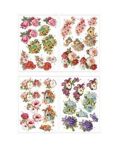 Motivi decoupage 3D, fiori e uccelli, 21x30 cm, 4 fgl./ 1 conf.