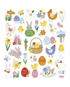 Stickers fenicotteri, mix Pasqua, 15x16,5 cm, 1 fgl.