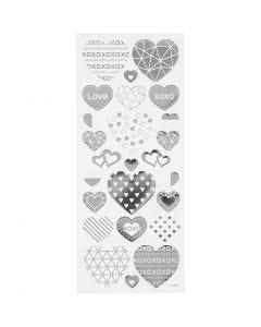 Stickers, cuori, 10x24 cm, argento, 1 fgl.