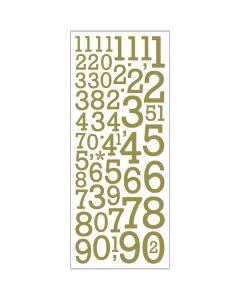 Stickers glitter, numeri, 10x24 cm, oro, 2 fgl./ 1 conf.