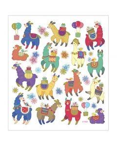 Stickers, lama, 15x16,5 cm, 1 fgl.