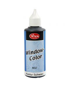 Colore per vetro - contorni, nero, 80 ml/ 1 bott.