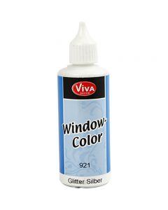 Colore per vetro, argento glitter, 80 ml/ 1 bott.