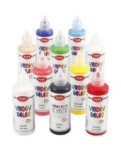 Colore per vetro, colori asst., 10x90 ml/ 1 conf.