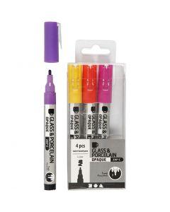 Penna per vetro e porcellana, ampiezza tratto 1-2 mm, semi opaco, arancio, viola, rosso chiaro, giallo, 4 pz/ 1 conf.