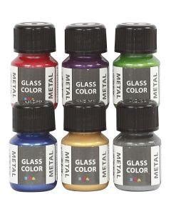 Colore metallico per vetro, colori asst., 6x30 ml/ 1 conf.