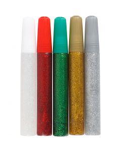 Colla glitter, colori asst., 5x10 ml/ 1 conf.