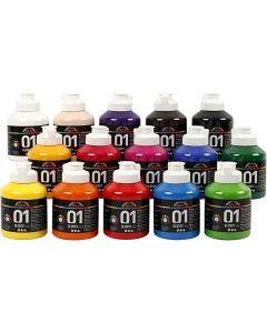 A-Color pittura acrilica, dim. 01, brillante, colori asst., 15x500 ml/ 1 scat.