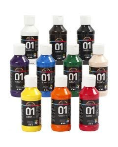 A-Color pittura acrilica, brillante, colori asst., 10x100 ml/ 1 conf.