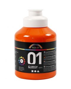 A-Color pittura acrilica, brillante, arancio, 500 ml/ 1 bott.