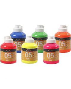 A-Color pittura acrilica, colori neon, 6x500 ml/ 1 scat.