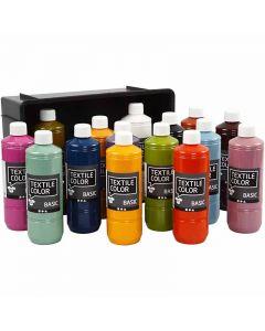 Colore per tessuti, colori asst., 15x500 ml/ 1 conf.