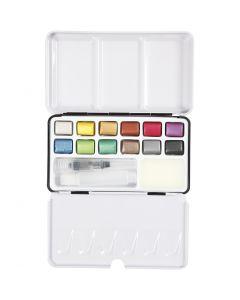 Set Acquarelli, misura 10x15 mm, colori metallici, 12 color/ 1 conf.