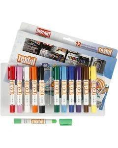 Pennarello per tessuto Playcolor, L: 14 cm, colori asst., 12 pz/ 1 conf., 5 g