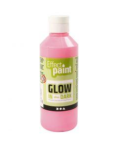 Pittura fosforescente, rosso chiaro fluorescente, 250 ml/ 1 bott.