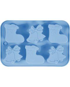 Stampo in silicone, calza natalizia e campane, misura buco 60x75 mm, 12,5 ml, 1 pz/ 1 conf.