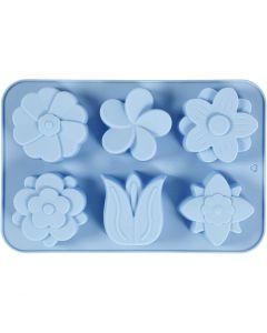 Stampo in silicone, fiori, H: 2,6 cm, L: 30 cm, L: 21 cm, misura buco 60x75 mm, 75 ml, 1 pz