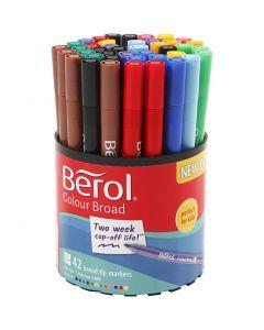 Berol Colourfine, diam: 10 mm, ampiezza tratto 0,3-0,7 mm, colori asst., 42 pz/ 1 vasch.