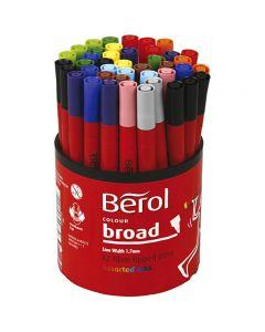 Pennarello Berol, diam: 10 mm, ampiezza tratto 1-1,7 mm, colori asst., 42 pz/ 1 vasch.