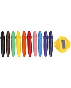 Pastelli a cera, L: 7 cm, diam: 11 mm, 10 pz/ 1 conf.