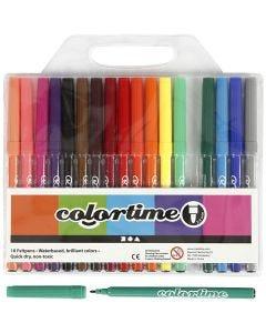 Pennarelli Colortime, ampiezza tratto 2 mm, colori asst., 18 pz/ 1 conf.