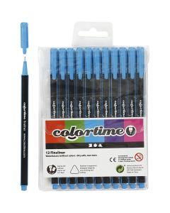 Pennarello Colortime Fineliner, ampiezza tratto 0,6-0,7 mm, azzurro, 12 pz/ 1 conf.