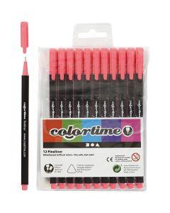 Pennarello Colortime Fineliner, ampiezza tratto 0,6-0,7 mm, rosa, 12 pz/ 1 conf.
