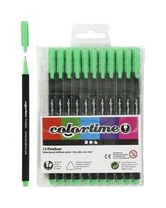 Pennarello Colortime Fineliner, ampiezza tratto 0,6-0,7 mm, verde chiaro, 12 pz/ 1 conf.