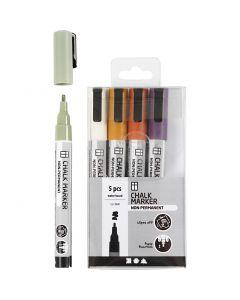 Pennarelli gessati, ampiezza tratto 1,2-3 mm, colori tenui, 5 pz/ 1 conf.
