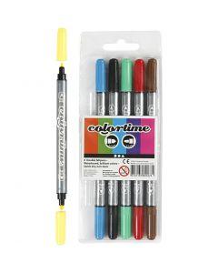 Pennarello doppio Colortime, ampiezza tratto 2,3+3,6 mm, colori standard, 6 pz/ 1 conf.