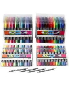 Pennarello doppio Colortime, ampiezza tratto 2,3+3,6 mm, colori standard, colore aggiuntivo, 24 conf./ 1 conf.