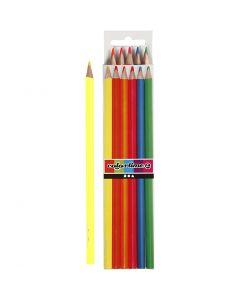 Matite colorate Colortime, L: 17,45 cm, mina 3 mm, colori neon, 6 pz/ 1 conf.