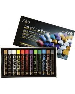 Pastelli a olio Gallery, L: 7 cm, spess. 11 mm, colori metallici, 12 pz/ 1 conf.