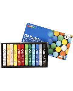 Mungyo Pastelli a olio, L: 7 cm, spess. 11 mm, colori asst., 12 pz/ 1 conf.