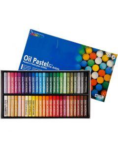 Mungyo Pastelli a olio, L: 7 cm, spess. 11 mm, colori asst., 48 pz/ 1 conf.